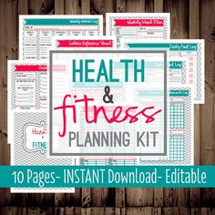Health and Fitness Planning Kit-Fitness Planner-Diet-Weight Loss Tracker-10 Sheets-Chevron-INSTANT DOWNLOAD & EDITABLE