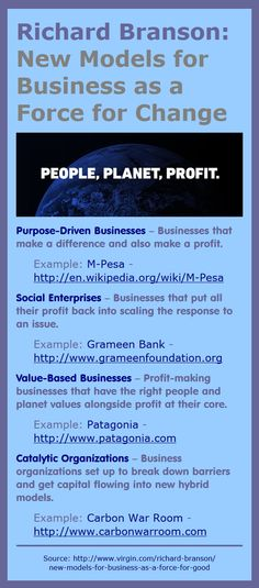 Richard Branson: 4 business models that can make a difference: Purpose-Driven Businesses, Social Enterprises, Value-Based Businesses, Catalytic Organizations