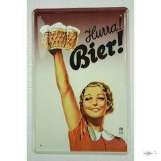 Blechschild Hurra! Bier! Werbereplik 20 x 30 cm tin sign enseignes en metál Metallschild Retro Werbung Blechschilder: Amazon.de: Küche & Haushalt