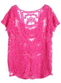 Blusa encaje hueco-Rosa EUR€19.80