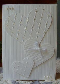 Heart Prints A7, QuicKutz Folders:  Diamonds and Dots, Stripes, Cuttlebug Folder: Love Language Folder/Die Set, Scor-Pal, Nestabilities Heart Dies, 5mm flat pearls, liquid pearls