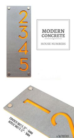 I love this modern concrete and acrylic house numbers. Simple, elegant and stylish. It's perfect. #commissionlink #concrete #acrylic #housenumbers #housedecor #home