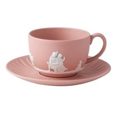 Jasper Classic White on Pink Teacup & Saucer - The Jasper Classic White on Pink Teacup & Saucer by Wedgwood. Jasperware is an unglazed vitreous body, providing the perfect background for classic . Tea Cup Saucer, Tea Cups, Crystal Stemware, Teapots And Cups, My Cup Of Tea, Tea Service, Chocolate Pots, Vintage Tea, High Tea