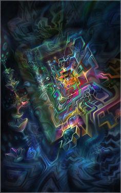 Art & design by Fabián Jiménez Psychadelic Art, Acid Art, Psy Art, Hippie Art, Rainbow Art, Visionary Art, Fractal Art, Bunt, Chakra