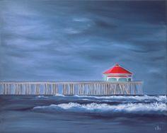 Huntington Beach Painting, 20 x 16, Oil Painting, Original Art, Pier Painting, Ocean Art, Wave Art, Storm Painting, Cloud Painting, Surf Art by CFineArtStudio on Etsy