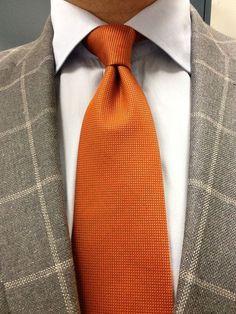 Sam Hober Tie Burnt Orange Diamond Weave Silk 19