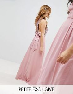 Buy Maya Petite Sleeveless Sequin Bodice Maxi Dress With Cutout And Bow Back Detail at ASOS. With free delivery and return options (Ts&Cs apply), online shopping has never been so easy. Get the latest trends with ASOS now. Pink Midi Dress, Asos Dress, Tulle Dress, Pink Maxi, Sequin Bridesmaid, Maxi Bridesmaid Dresses, Bridesmaid Ideas, Bridesmaids, Petite Outfits