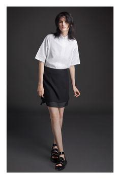 Public School | Resort 2015 | 02 White short sleeve shirt and black mini skirt with sheer hem