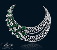 Shine and sparkle in designer diamond necklaces from Hazoorilal Jewellers in GK, Delhi. Visit today for the exquisite collection of diamond necklace designs! Diamond Necklace Set, Diamond Pendant, Indian Diamond Necklace, Stone Necklace, Gold Necklace, Emerald Jewelry, Diamond Jewelry, Hazoorilal Jewellers, Fancy Jewellery