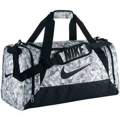 Nike Brasilia Duffel Bag, Silver ($34) ❤ liked on Polyvore featuring bags, luggage and silver