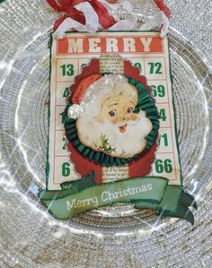 This is a great vintage looking Christmas Bingo card ornament or wall hanging piece. This card has a jolly old Santa with amazing blue eyes. The