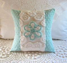 AQUA ROSE vintage chenille pillow