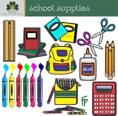 This free back to school clipart set includes 9 happy school free school supplies clip art voltagebd Image collections