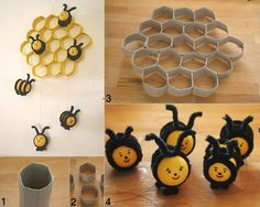 Make This Cute Beehive from TP Rolls and Kinder Surprise Eggs