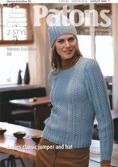 811365f1e Ladies Classic Jumper and Hat in Patons Merino Extrafine DK - 3944. Baby Knitting  PatternsFabric ...