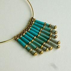 """Elégant collier """"douceur"""" en perles de papier lokta népalais bleu et gris"""