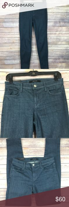 "J Brand Super Skinny Mid Rise Serpentine Jeans J Brand super skinny jeans in serpentine Dark indigo blue color, mid rise, skinny leg Size 27. Waist 28"" Leg opening 10"" Inseam 29"" Outseam 38"" Rise 9"" New with out price tags. MSRP $185 All measurements are approximate. Smoke free home. J Brand Jeans Skinny"