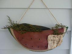 Primitive watermelon crow door hanger by ahlcoopedup on Etsy, $17.95