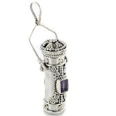 Tall Sterling Silver Amethyst Poison Bottle Pillbox Urn Pendant