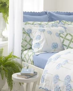 Shop Charlotte Bedding & Madison Bamboo-Lattice Sheets from Matouk at Horchow, where you'll find new lower shipping on hundreds of home furnishings and gifts. Home Bedroom, Bedroom Decor, Master Bedroom, Garden Bedroom, How To Make Bed, Linen Bedding, Bed Linens, Bedding Sets, Bedroom Linens