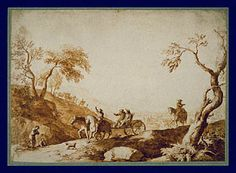 Landscape with Travelers About 1720 Marco Ricci Italian, 1676-1730 Pen and brown ink and brush and brown wash over black chalk The J. Paul Getty Museum 95.GG.24  This drawing conveys the feeling of traveling by carriage in the open air. For Grand Tourists the appeal of accomplished works on paper such as this one was motivated by both content and transportability; like the two gentlemen captured at center, they traversed the tortuous routes of Italy.