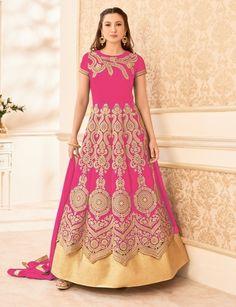 Gauhar Khan Pink Colour Semi Georgette Heavy Work Designer Suit with Best Price & Best Quality,Cash on Delivery. Punjabi Fashion, Abaya Fashion, Fashion Outfits, Wedding Salwar Kameez, Latest Salwar Kameez, Designer Suits Online, Designer Salwar Suits, Bollywood Dress, Bollywood Fashion