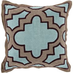 22 Modern Maze Pillow in Teal, Taupe & Black