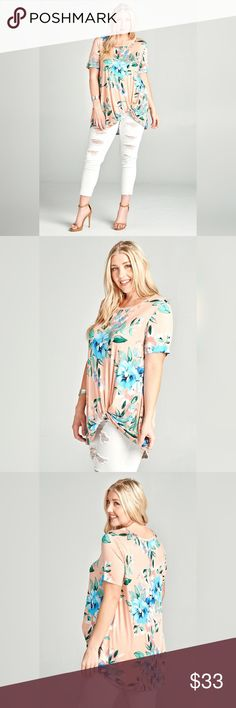 !SALE! PLUS SIZED PEACH FLORAL TUNIC Round neck, floral print jersey knit top with short sleeves and a side twist at the hip. Soft to the touch and lightweight on the body, this t-shirt is great for a casual look over skinnies and wedges. Relaxed fit. True to size. 95% Rayon, 5% spandex. Made in the USA. Tops Tunics