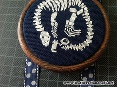 PATTERN plesiousaur dinosaur dino skeleton fossil cat cute counted cross stitch, love this, it is so different.