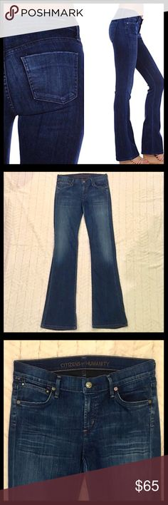 Citizens of Humanity Emmannuelle Slim Bootcut Citizens of Humanity Emmannuelle Slim Bootcut jeans in excellent condition. Feature whiskering and fading. Medium wash is Secret. 74% cotton, 24% polyamide and 2% elastane. Rise is 8.5 inches and inseam is 33 inches. Citizens Of Humanity Jeans