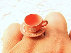 Kawaii Cute Japanese Ring Pink Teacup And by SouZouCreations, $10.00