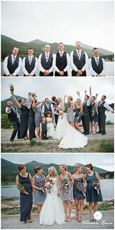 Love The Contrast Of Serious Groomsmen And Wild Wedding Party Taharaa Mountain Lodge Estes Park Colorado Www Estesparkcvb Groups Cfm Flourish Studio