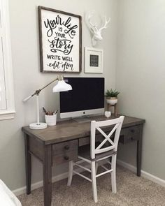 Can't make it into the office today? That's okay, with an office like this, we don't blame you. #LivingSpaces  #OfficeSpaces | *Photo: Leah Eaton Home