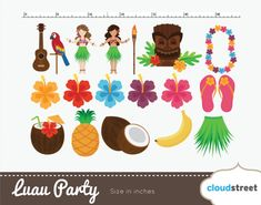 buy 2 get 1 free Vector Hawaiian Luau Party clip by cloudstreetlab