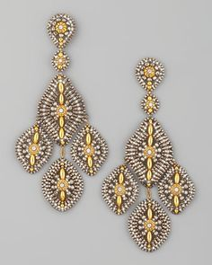 Pyrite Quartz Drop Earrings by Miguel Ases Design at Neiman Marcus.