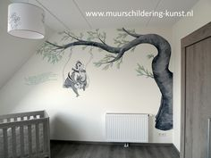 knabbel en babbel muurschildering babykamer