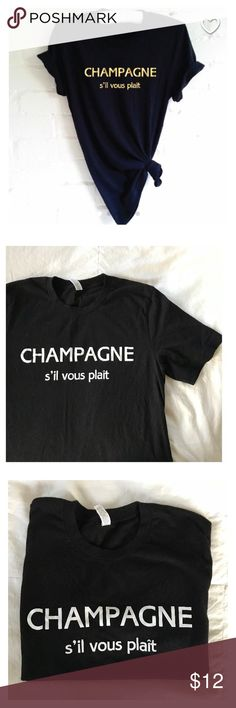 Champagne Brunch Tee Handmade item from Etsy, Bella and Canvas brand, crew neck, light, longer in length which is great for tying as shown in photo or to tuck into high waist jeans. Worn once for a boozy brunch ! Tops Tees - Short Sleeve