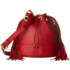 Boutique Moschino Fringes Bucket Bag (Red 0115) Handbags ($625) ❤ liked on Polyvore featuring bags, handbags, shoulder bags, handbags shoulder bags, red leather shoulder bag, fringe bucket bags, hand bags and man bag