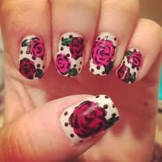 @kimdowneyy: Betsey Johnson inspired mani! #betseyjohnson #polkadots #flowers #nails #obessesion