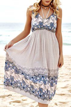 $21.41 Bohemian V-Neck Sleeveless Paisley Dress For Women