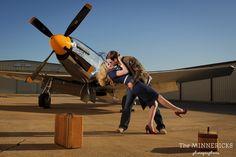 aviator engagement photos at Cavanaugh Flight Museum in Addison Texas (3)