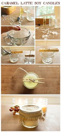 How to make DIY caramel latte soy candles for your wedding favors #interestingweddingfavors