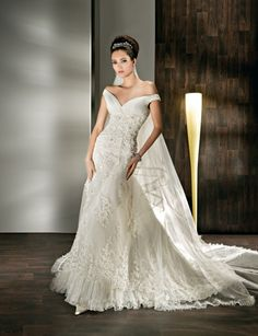 Off shoulder empire waist A-line organza wedding dress