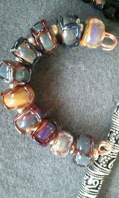 Fun set of textured boro lampwork beads