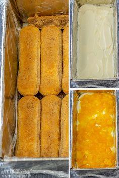 Mango tiramisu is a fruity version of the classic Italian dessert. Layers of ladyfingers, mascarpone mixture and mango sauce are finished off with cocoa and some fresh mango slices. Mango Tiramisu Recipe, Tiramisu Dessert, Mango Dessert Recipes, Gourmet Recipes, Cooking Recipes, Pinoy Dessert, My Dessert, Lemon Cake Bars, Mango Sauce