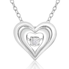 Sterling Silver, 18-inch es Shimmering Stars Diamond Accent Double Heart 18-inch Neck