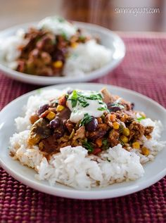 Turkey Chilli | Slimming Eats - Slimming World Recipes #lowfat #slimmng #chilli