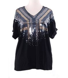 festliches Abendmode XXL Damen T-Shirt mit Pailletten für Mollige in Schwarz von Sempre Piu – Bild 1