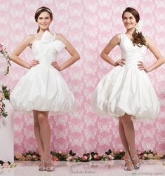 short wedding dress on the right would be beautiful