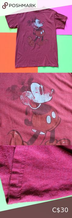 "Mickey Mouse Red Vintage Style T-Shirt Mickey Mouse Red Vintage Style T-Shirt SIZE: Medium Excellent condition! Made to look faded! CHEST 20"" BACK 29"" BRAND: Disney FABRIC: 50/50 Country of origin: Mexico Colour: Red TheBandTee.Shop Disney Shirts Tees - Short Sleeve"